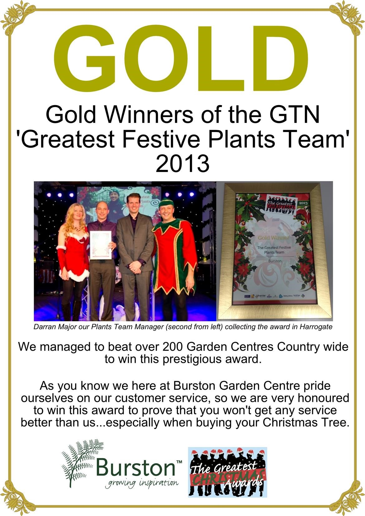 Gold Winners of the GTN 'Greatest Festive Plants Team' 2013 - Burston Garden Centre