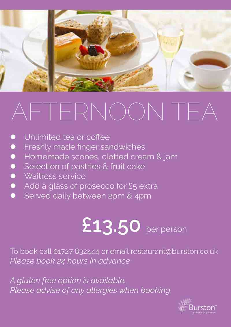 Special Offers - Burston Garden Centre Restaurant - Afternoon Tea