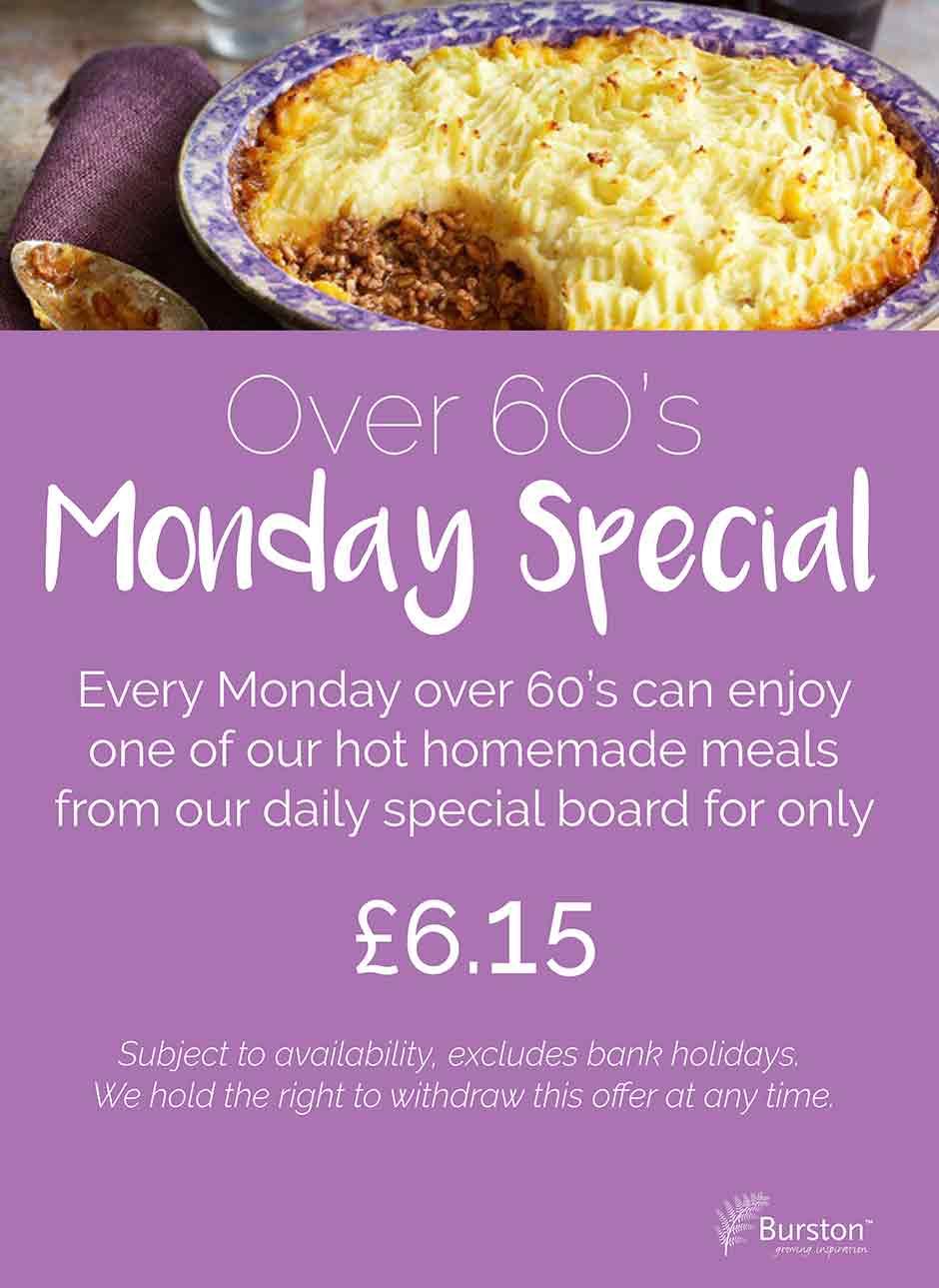 Special Offers - Burston Garden Centre Restaurant - Over 60s