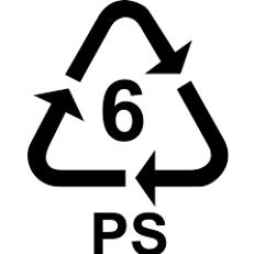 6 ps plastic symbol - recycling