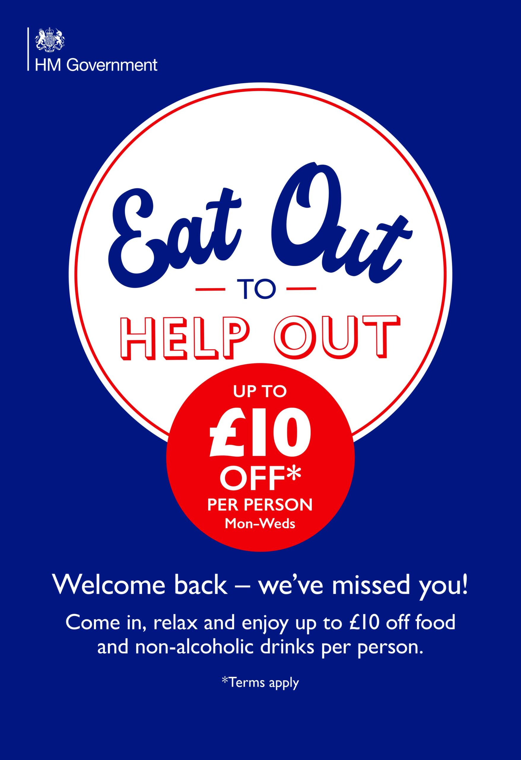 Eat out to Help out promotional poster - Burston Garden Centre